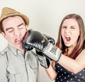 Angry Woman Boxing Gloves